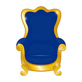 Old blue antique armchair on a white background — Vetorial Stock