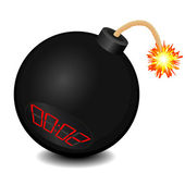 Black bomb about to explode — Stock Vector