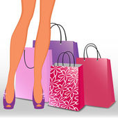 Women's legs and shopping bags — Stock Vector