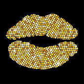 Golden lips on black background — Vettoriale Stock