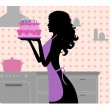 Silhouette of beautiful girl cooking — Stock Vector #41078397