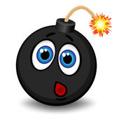 Black bomb with a funny face about to explode — Stock Vector