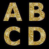 Golden metallic shiny letters A, B, C, D — Stock Vector