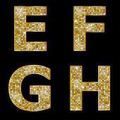Golden metallic shiny letters E, F, G, H — Stock Vector
