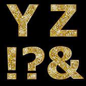 Golden metallic shiny letters Y, Z, !, ?, & — Stock Vector