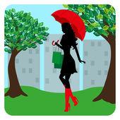 Sylwetka modne dziewczyna idąc ulicą z parasolem w ręku — Wektor stockowy