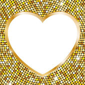 Gold frame in the shape of heart — Stock Vector