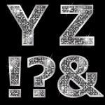 Silver metallic shiny letters Y, Z, !, ?, & — Stock Vector #47412733