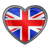 Bandera del reino unido botón brillante del corazón — Vector de stock