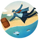 Flying tourist. Happy vacation tour for a businessman — Stock Photo