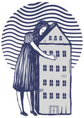 Woman holding her house in her arms — Stock Vector
