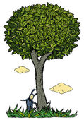 Kid under the tree vector illustration. Color — Stock Vector