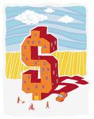 Dollar shaped building (vector illustration) — Stock Vector