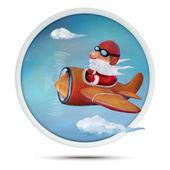 Christmas Santa on airplane — Stock Photo