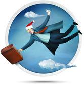 Flying santa tourist — Stock Photo