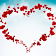 Stock Photo: Valentine card background with hearts in the sky