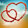 Stock Photo: Valentine card background with chains of hearts