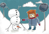 Boy and snowman vector illustration. Eps 10 — Stock Vector