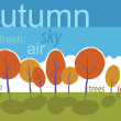 Autumn trees in park. Vector cartoon landscape. — Stock Photo #24598159