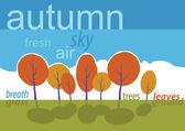 Autumn trees in park. Vector cartoon landscape. — Stock Photo