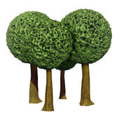 Ball shaped trees, 3d based — Stock Photo