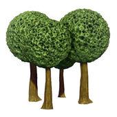 Ball shaped trees, 3d based — Stock Photo