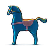 Blue toy metal horse isolated on white — Stock Photo