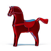 Red toy metal horse isolated on white — Stock Photo