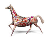 Toy horse with ornament isolated on white — Stock Photo