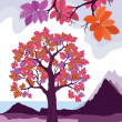 Pink decorative tree vector illustration — Stock Vector #38033513