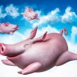 Funny flying piggies. Sky divers — Stock Photo #38304765