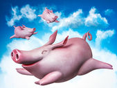Funny flying piggies. Sky divers — Stock Photo
