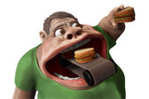 Fat hungry man eating hamburgers 3d illustration — Stock Photo