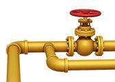 Gas pipe valve illustration. Isolated on white — Stock Photo