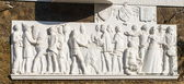 Panels depicting people of different ages, Feodosiya, Crimea — Foto Stock
