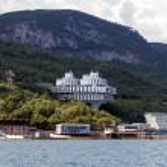 "The original building of sanatorium ""Kuhpaty"" round on the Black Sea near Yalta, Crimea, Ukraine — Stock Photo"
