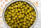 Canned green peas closeup — Stock Photo