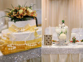 Wedding cake on the decorated table — Stock Photo