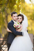 Newly married couple  in autumn park — Stock Photo
