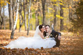 Beautiful wedding couple sitting in the autumn leaves — Stock Photo