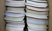 Stack of used books detail — Stock Photo