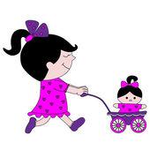 人形とベビーカーを持つ少女 — ストックベクタ