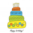 Happy birthday card with cake - Stock Vector