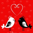 Happy Valentines Day card with birds — Stock Vector