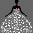 Vector silhouette of young woman in dress - Stock Vector