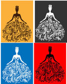 Vector silhouette of young woman in a dress — Stock Vector