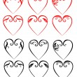 Vector illustrations of decorative hearts — Stock Vector