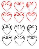 Vector illustrations of decorative hearts — Stock Vector