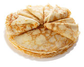Pile of pancakes on the plate (isolated object) — Stock Photo