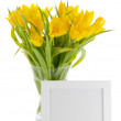 Yellow Tulips and photo frame — Stock Photo